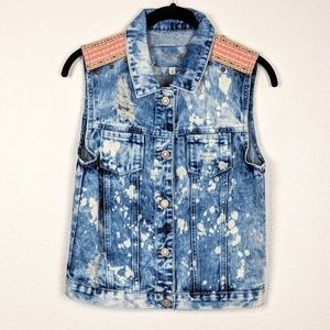 Acid Washed Distressed Denim Vest with Embroidery